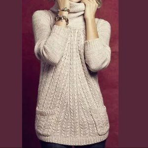 Guinevere cowlneck cabled pullover